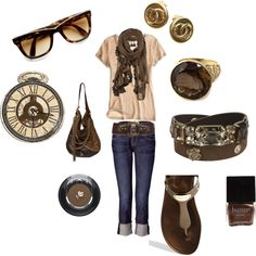 """""""casual brown"""" by kimberlymo on Polyvore"""