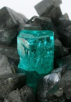 Beryl var. Emerald on Calcite - Coscuez Mine, near Muzo, Boyaca Dept., Colombia