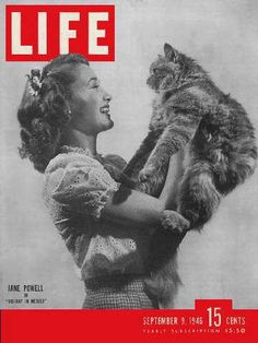 I have a soft spot for pictures of animals – so I especially love this September 1946 Jane Powell cover. (see more covers from 1946 here) What's your favorite LIFE cover? Look Magazine, Movie Magazine, Magazine Photos, Celebrities With Cats, Celebs, Animal Magazines, Life Cover, Cat People, Vintage Magazines