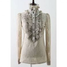 $10.30 Solid Color Lace Refreshing Style Long Sleeves T-Shirt For Women
