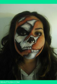 skeleton half and half face paint
