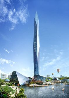 """This South Korean skyscraper has been designed with special LED screens and high-definition cameras that are able to make the building literally disappear into the skyline. The """"invisible tower"""" is set to begin construction next year. Future Buildings, Unique Buildings, Amazing Buildings, Modern Architecture Design, Futuristic Architecture, Beautiful Architecture, Minimalist Architecture, Futuristic Design, Landscape Architecture"""