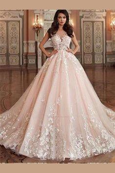 pink wedding dresses Stunning Light Pink Wedding Dress,Appliques Lace Sleeveless Bridal Dress,Sexy V-Back Wedding Gown Light Pink Wedding Dress, Queen Wedding Dress, Royal Wedding Gowns, Pink Wedding Dresses, Bridal Dresses, Gown Wedding, Wedding White, Tulle Wedding, Queen Dress