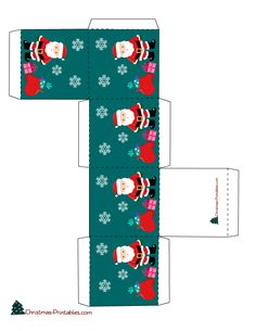 gift box with images of santa Christmas Gift Box Template, Printable Christmas Games, Miniature Christmas, Christmas Minis, Christmas Crafts, Christmas Tree, Box Templates Printable Free, Boxes And Bows, Baby Kind