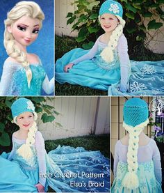 Wonderful DIY Crochet Snow Queen Hat with Elsa's Braid Free Pattern