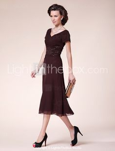 A-line Princess V-neck Tea-length Chiffon Mother of the Bride Dress - maybe-available in deep navy