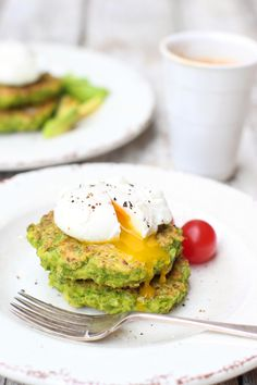 Pea & Halloumi Fritters with Poached Eggs - The Little Green Spoon