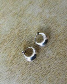 Silver Fat Hoop Earrings Small Hops Sterling By Spiralica