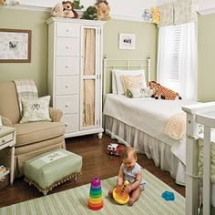Neutral Nursery...plus I love how it can still be maintained as a guest room for at least one guest...Grandma?...and baby can grow into it or share with sibling if you don't have a 3-4 bedroom house.