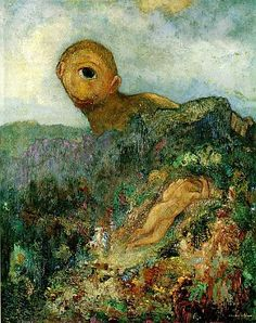"""20 April the French symbolist painter Bertrand-Jean, better known as Odilon Redon, was born in Bordeaux. Depicted below is Odilon Redon's """"Cyclops"""" Rijksmuseum Kröller-Müller, Otterlo, Netherlands Oil Painting On Canvas, Painting & Drawing, Canvas Art, Cave Painting, Odilon Redon, Oil Painting Reproductions, Klimt, French Artists, Metropolitan Museum"""