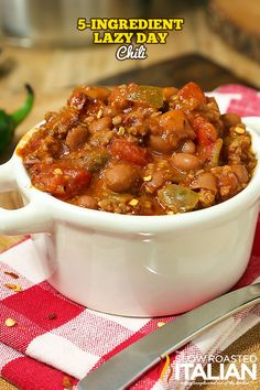 This thick and hearty chili comes together in just 15 minutes, using only 5 ingredients. Truly one of our favorite chili recipes ever it is perfect for winter or fall, spring or even summer barbecuing. Any recipe that tastes this good and can be put together on a lazy day is a keeper in my book!