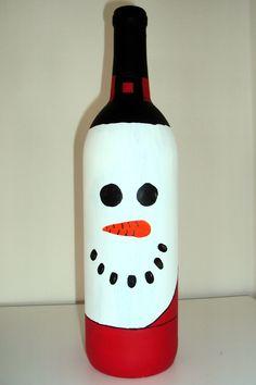 Empty Wine Bottle turned into Mr.Snowman