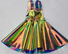 Custom Plus Size Holographic Star Vinyl Overall Dress Rave | Etsy Holographic Dress, Holographic Fabric, Drag Queen Costumes, Fashion Figure Templates, Rave Music, Vinyl Dress, Burning Man Outfits, Circle Dress, Apron Dress