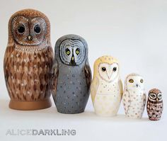 Owl Nesting Dolls (Matryoshka / Russian dolls) - set of 5 different owls by Alice Darkling
