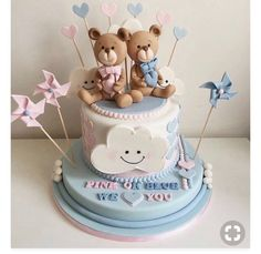 Pregnancy Gender Reveal, Baby Shower Gender Reveal, Baby Gender, Baby Shower Treats, Baby Shower Cakes, Baby Shower Parties, Gender Reveal Decorations, Beautiful Birthday Cakes, Disney Cakes