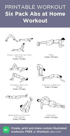 Six Pack Abs At Home Workout My Custom Created Workoutlabs Com Click Through To As Printable Pdf Customworkout Ab Workout At Home, Gym Workouts, At Home Workouts, Workout Plan For Men, Six Pack Abs Workout, Workout Plans, Sixpack Workout, Fitness Motivation, Fitness Routines
