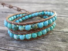 Turquoise Leather Wrap Bracelet by NoliePolieOlies on Etsy, $32.00