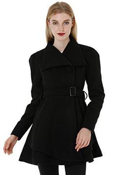 Wantdo Women's Wool Wrap Swing Coat with Belt  Fit and flare shape  Mid-weight soft-touch finish, Fully lined  Funnel neckline, Button Closure  Self-tie belted waistline, Puff sleeve, Skirted Hem  Please read the SIZE CHART we provide in the description