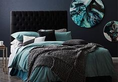 Dark Grey and Teal Bedroom