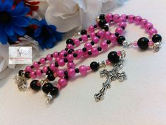 Shimmering Pink and Black Rosary/Beaded/Crucifix Silver/Our Lady of Guadalupe Centerpiece Silver/Catholic/Handmade/LR#0070 by Justmyhands1Rosaries on Etsy