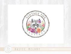 Fox Vintage Logo Diseño Boutique insignia Shabby por RusticMelody1