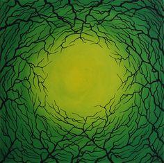 Titre : Focalisation verte. Tableau réalisé à la peinture acrylique ( pébéo, studio ) et Posca ( Uni ) sur châssis en bois entoilé en coton. ( Fond de toile réalisé à la peinture acrylique, silhouette de branchage réalisée au Posca )  Format de l'œuvre : 50 cm x 50 cm x 3 cm.  Diamètre de l'œuvre : 70,7 cm.  Poids approximatif de l'œuvre : 0.600 kg Date de réalisation : 07 / 2015 Prix : 250 Euros. #focalisation #branchages #branches #art #abstrait #tableau #moderne #design #rotation…