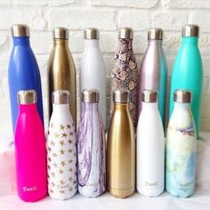 Use reusable water bottles instead of using plastic water bottles, recently S'well water bottles have been marketing and selling to consumers who want to make a difference in the world. Swell Water Bottle, Cute Water Bottles, Best Water Bottle, Drink Bottles, Reusable Water Bottles, Save The World, Food Storage Boxes, Plastic Storage, Drinking Fountain