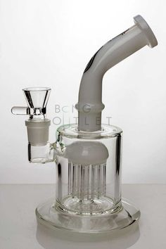 This bong makes good use of the color and how cool in tone it looks. The white is just one of the first things you'll notice; the real prize winner in this bong is the 10 arms percolator.  The percolator has a white accent as well which looks great. The 10 arms ensure that there is absolutely no chance that the smoking experience will be harsh. The smoke will interact with a lot of water and will cool down by the time you toke. It also has a bent neck and a thick bowl for 18mm joint.