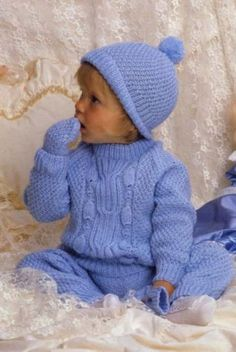 This PDF Knitting Pattern is for a Baby Sweater, Pants, Mittens & Hat Set Knitted in DK wool on a pair each of mm (USA & 4 mm (USA Knit Baby Pants, Knitted Baby Clothes, Knitted Baby Blankets, Baby Boy Knitting, Knitting For Kids, Baby Knits, Free Knitting, Crochet Dress Outfits, Aran Knitting Patterns