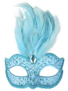 Pale Blue Masquerade Mask with Feathers