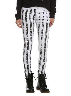 ChiQle White American Flag Skinny Jeans | Hot Topic