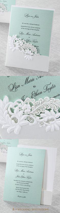 Embossed Laser Cut Open Pocket by B Wedding Invitations #bweddinginvitations…