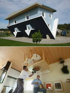 Klaudiusz Golos and Sebastion Mikuciuk created this upside down house for an exhibit in Trassenheide, Germany. It's clearly unlivable but still a lot of fun Unusual Buildings, Interesting Buildings, Upside Down House, Little Houses, Wonderful Places, Hanging Out, Beautiful Pictures, Weird, Shed