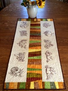 Advanced Embroidery Designs. Autumn Themed Quilted Table Runner.