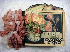 """TPHH Sharon Chipboard PREMADE Vintage Keepsake """"Love"""" Scrapbook Photo Album  #LoveWeddingAnniversaryFriendship"""