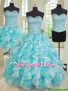 New Arrivals Aqua Blue and White Detachable Quinceanera Dress in Organza