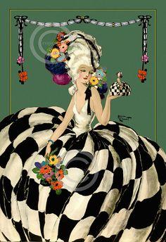 Very Art Deco Whimsical Rare Homer Conant Beauty Ballgown Green Candy Box Version Giclee Fine Art Print 1922 Fashion Illustration Vintage, Illustration Art, Madame Pompadour, Art Magique, Pierrot Clown, Art Deco Posters, Art Deco Design, Altered Art, Art Images