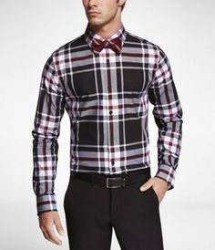 PLAID EXTRA SLIM FIT CUTAWAY COLLAR SHIRT at Express
