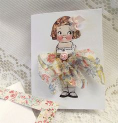 Embroidery dolly with hankie for skirt! Cuteness!