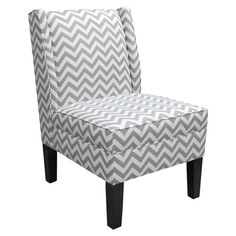 Slipper chair with pine wood frame and chevron motif. Handmade in the USA.Product: ChairConstruction Material: Polyure...