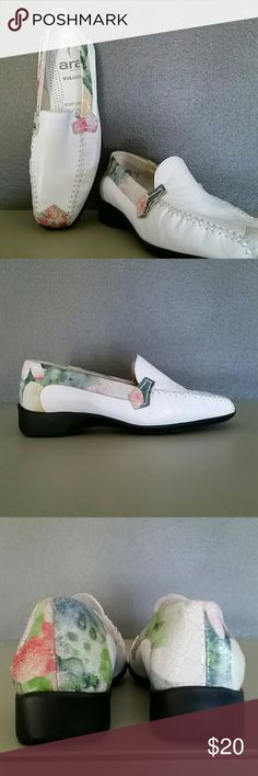 ARA WHITE LEATHER SHOES WITH FLORAL ACCENTS *Size 7.5 (UK Size 5) *White Leather Uppers with Floral Leather Accent   On Toe, Heel and Along Side  *Non-Skid Rubber Outsole  *NEW WITHOUT TAGS;  NEVER WORN ara Shoes
