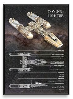 Space Stars Y-Wing, Star Wars Poster - Printed on Professional Poster Paper 90 lb. The frame is not included. High quality of printing. Star Wars Rebels, Star Trek, Star Wars Rpg, Star Wars Ships, Star Wars Poster, V Wings, Film Science Fiction, Nave Star Wars, Star Wars Spaceships