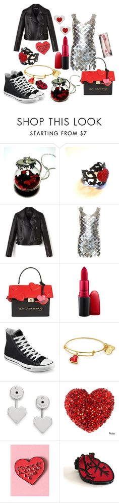 """""""goth valentines day"""" by pineapplefashion-ar on Polyvore featuring Paco Rabanne, Kate Spade, MAC Cosmetics, Converse, FOSSIL, goth, HappyValintinesDay and valintinesday"""