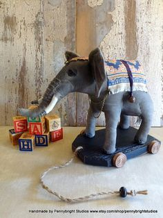 Elephant pull toy: vintage style, soft sculpture pull toy by Pennybright Studios