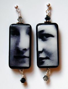 """""""The Immigrants"""" Photo Earrings feature pictures of my Grandma and her sister who emigrated from Germany to the United States after WWI. I cropped their faces really close. They were beautiful, strong, and wise women, and I think this shows in their faces! By Little Visions Photo & Jewelry Art... www.annwidner.com"""