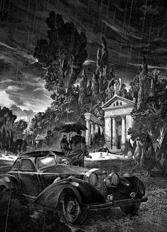 """pixalry: """"Thomas and Martha Wayne - Created by Nicolas Delort Official Batman limited screen print online now available for sale at French Paper Art Club. Gravure Illustration, Illustration Art, Art Scratchboard, Nicolas Delort, Arte Alien, Black White Art, Geek Art, Ink Illustrations, Art Club"""