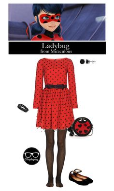 """""""Ladybug - Miraculous"""" by closplaying on Polyvore featuring Fogal, Yves Saint Laurent, Steve Madden, SUSU, BERRICLE and Bling Jewelry"""
