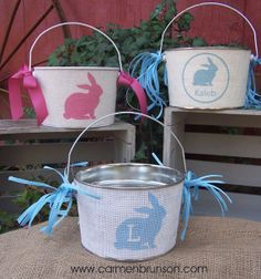 Personalized Easter basket, Easter Pail, Easter bucket, monogram, Custom, burlap bucket, tween decor, storage, birthday, wedding on Etsy, $20.00