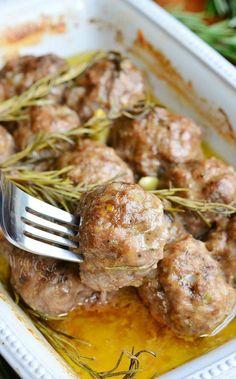 Roasted Garlic Rosemary Baked Meatballs 3 from willcookforsmiles.com