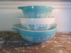 Turquoise Butterprint Pyrex Bowls Cinderella Amish Bowls Aqua Mixing Bowls  From VintageShoppingSpree on Etsy